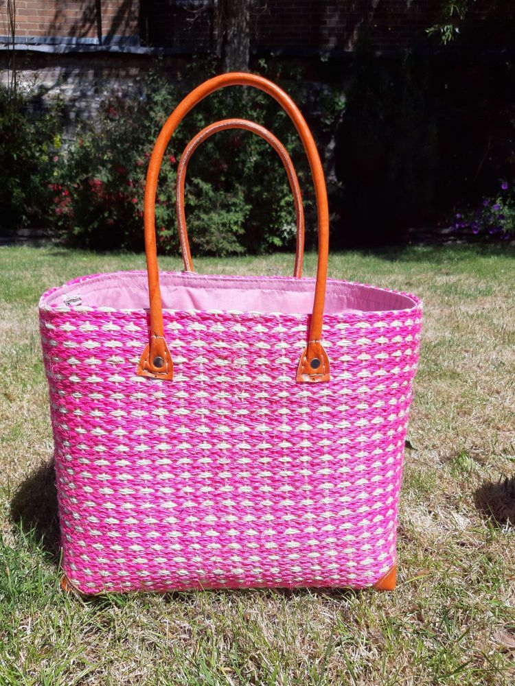 Large sisal cross pink basket