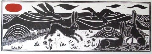 John Walker Original print Hares and birds on Ridgeway