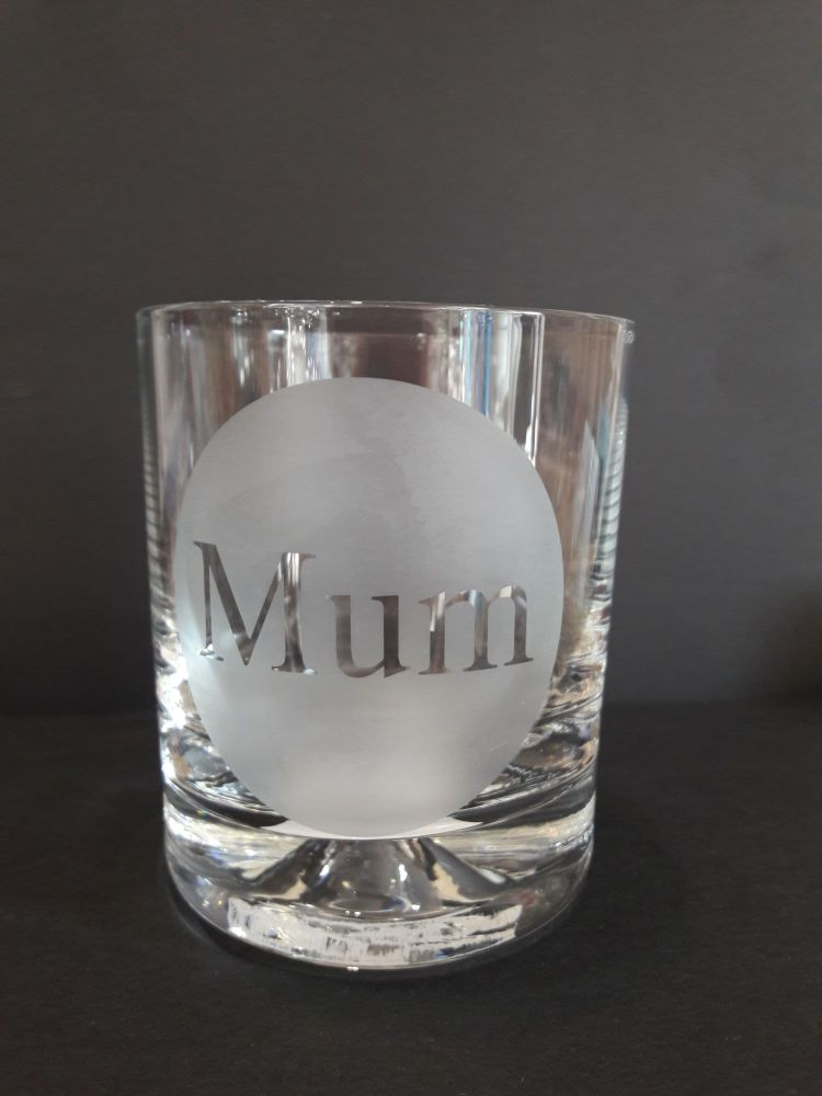 Etched Glass tumbler- Mum