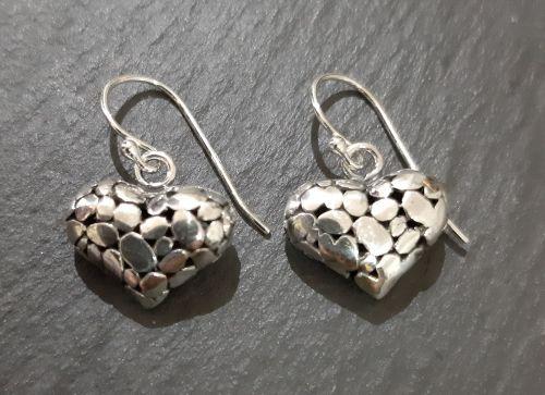 Silver pebble heart earrings