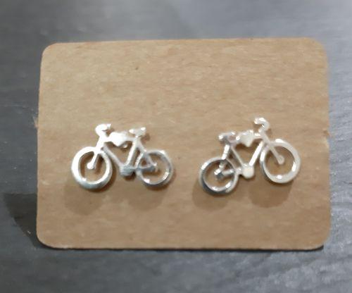 silver bicycle stud earrings