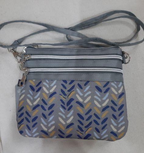 Small blue herringbone oilskin crossover bag