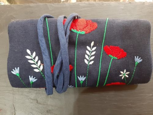 Poppy embroidered jewellery roll