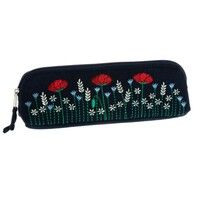 Poppy embroidered thin cosmetic bag/pencil case