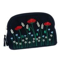 Poppy embroidered small cosmetic bag