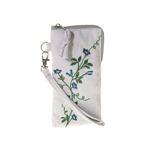 Embroidered glasses case with floral design