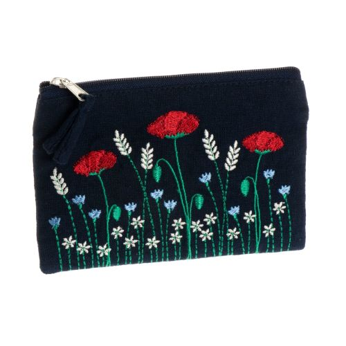 Poppy embroidered coin purse