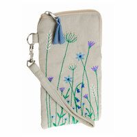 Embroidered glasses case with meadow design