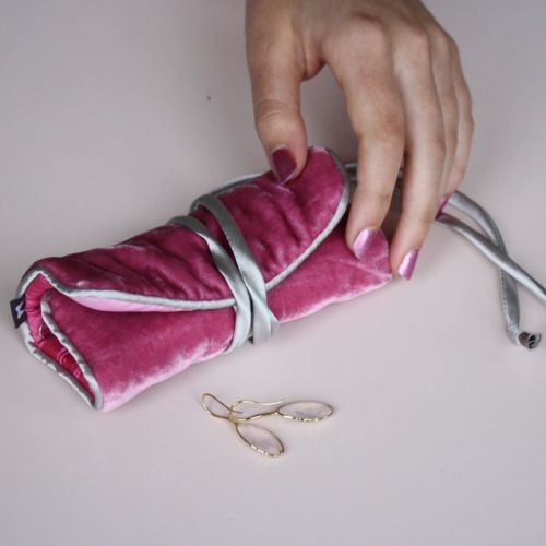 Pink velvet jewellery roll