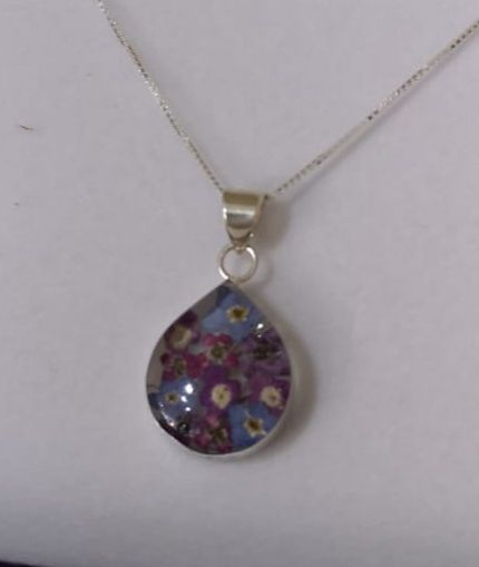 Forget me not and purple verbena teardrop pendant