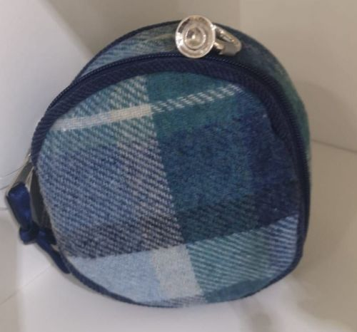 Coastal blue Tweed jewellery pouch