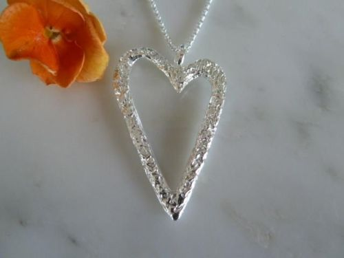 Large open heart necklace