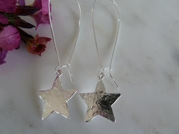 Long silver star earrings