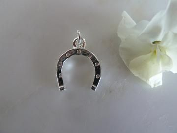 silver horseshoe charm (chain sold separately)