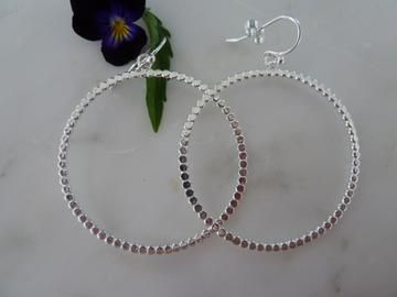 Large silver flat dot circle earrings