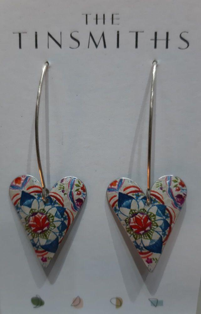 lotus medium heart on medium drop earrings
