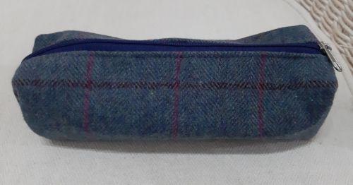 Tweed Pencil case in Steel Blue