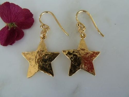Gold star earrings  18ct gold plated on sterling silver