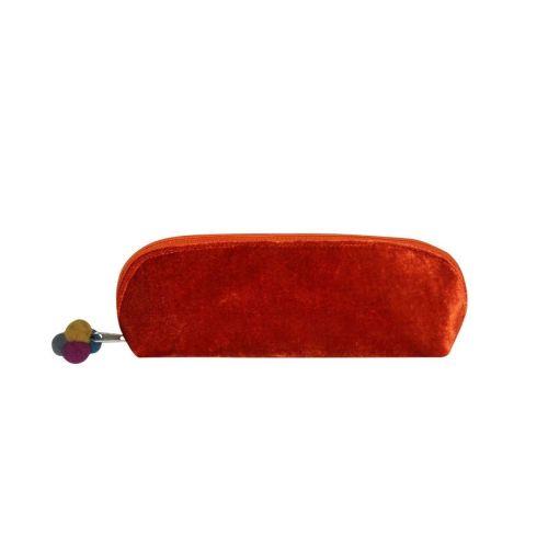 Rust Orange velvet cosmetic case