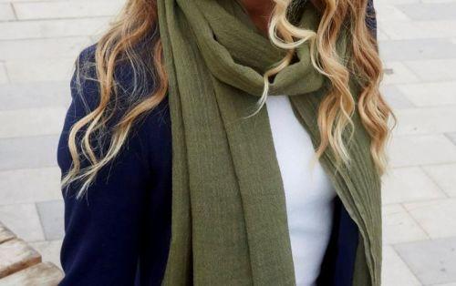Luxury silk and wool Green Fairtrade scarf