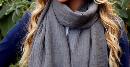 Luxury silk and wool Grey Fairtrade scarf