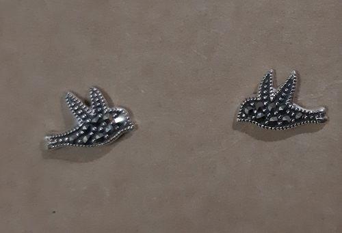 Sterling silver marcasite bird earrings