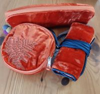 Rust Orange velvet jewellery roll