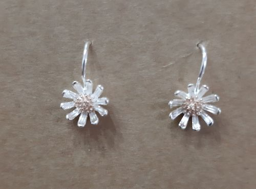 Silver and rose gold daisy earrings