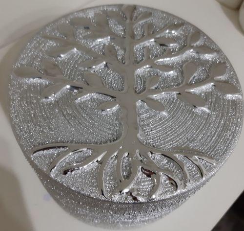 Silver coloured ceramic Tree of Life trinket box