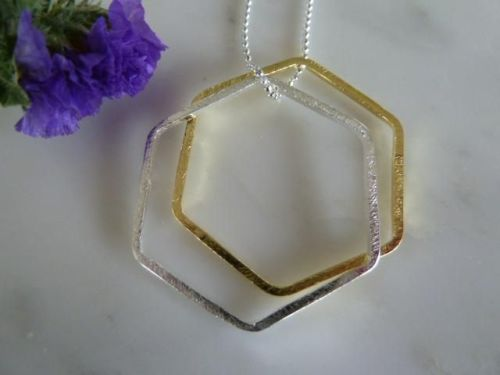 Silver & gold double hexagon necklace on 30