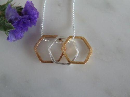 Three silver & gold hexagon necklace