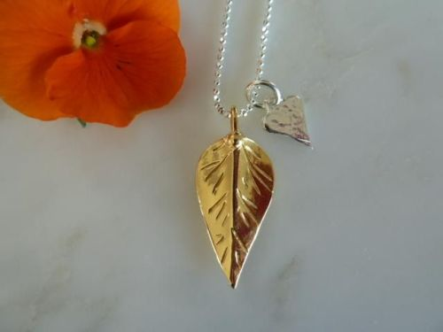 Gold leaf and silver heart necklace