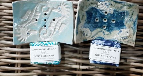 Fiona Kelly soap dishes with soap - Made in Dorset
