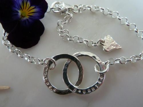 Silver Mother and Son bracelet