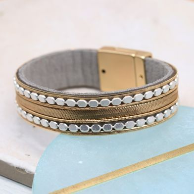 Golden chain bracelet with silver dotted edge