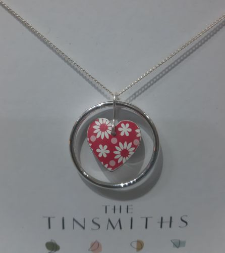 Silver circle and red heart necklace