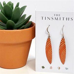 Orange Skinny Leaves Earrings