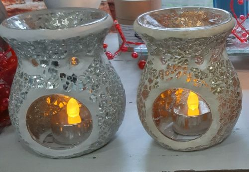 Round crackle wax melt/oil burner in red, gold, silver or black