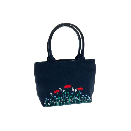 Poppy embroidered small grab bag