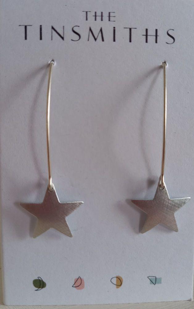 Recycled aluminium  star heart earrings