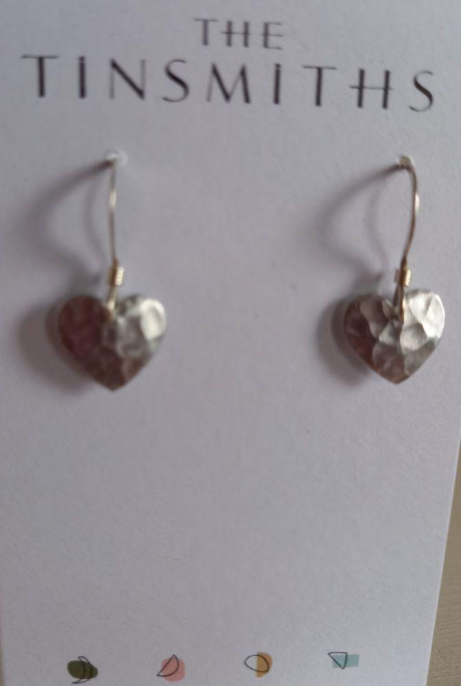 Recycled aluminium small heart drop earrings