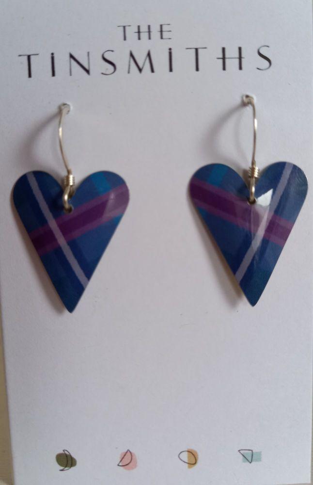 Jasmine design Recycled tin med heart earrings