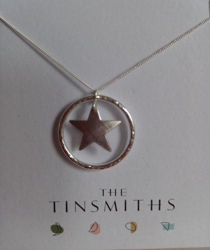 Large Silver circle and aluminium star necklace