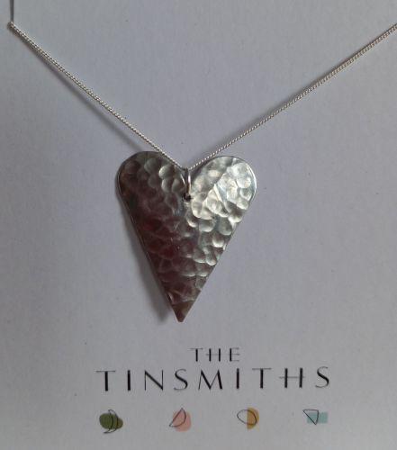 Recycled aluminium heart pendant on curb chain - medium