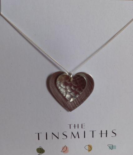 Double aluminium heart necklace
