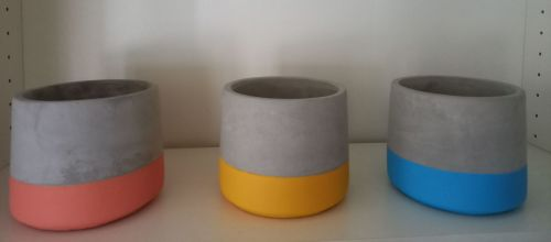 Contemporary cement pot with Coloured band