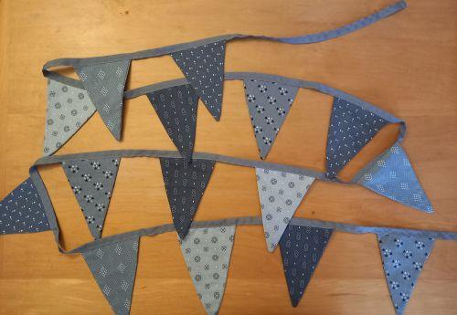 Handmade double sided grey bunting