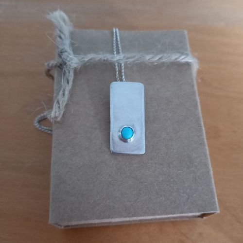 Silver necklace with turquoise semi precious stone
