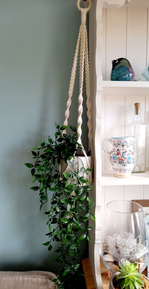 Macrame pot holder in cream with queen bee pot holder (plant not included)