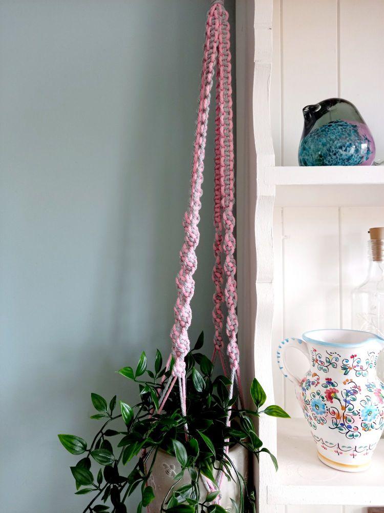 Macrame pot holder in grey & pink mix with queen bee pot holder (plant not